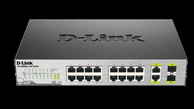 DES-1018P D-Link switch 8xPoE, 8x10/100 + 2xGigabit Combo